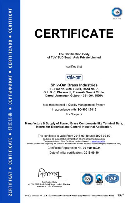 ISO CERTIFICATES 9001